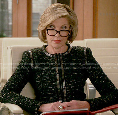 Diane's black tweed jacket with chain trim on The Good Wife
