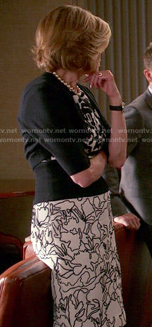 Diane's black and white mixed pattern dress on The Good Wife