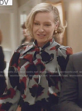 Elizabeth's blue and red printed blouse on Scandal