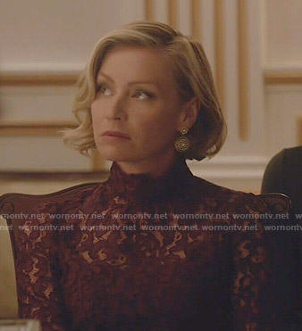 Elizabeth's burgundy lace dress on Scandal