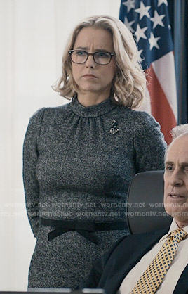 Elizabeth's grey mock-neck dress on Madam Secretary