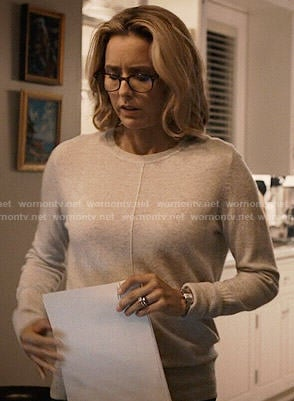 Elizabeth's grey sweater with front seam on Madam Secretary