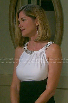Eve's black and white dress with embellished neckline on Days of our Lives