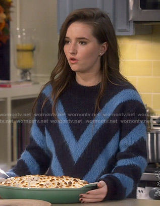 Eve's blue chevron sweater on Last Man Standing