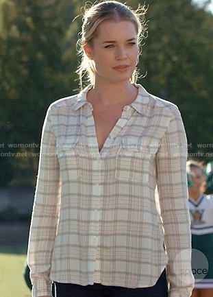 Eve's cream plaid shirt on The Librarians