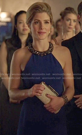 Felicity's blue gown with embellished halter neck on Arrow