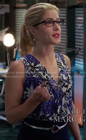 Felicity's blue printed v-neck top on Arrow