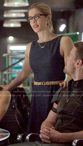 Felicity's denim fit and flare dress on Arrow