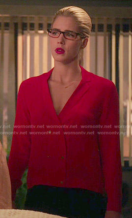 Felicity's red double breasted blouse on Arrow