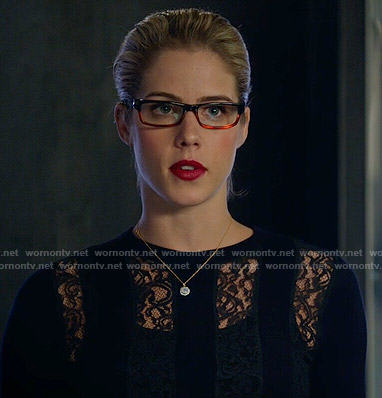 Felicity's lace striped top on Arrow