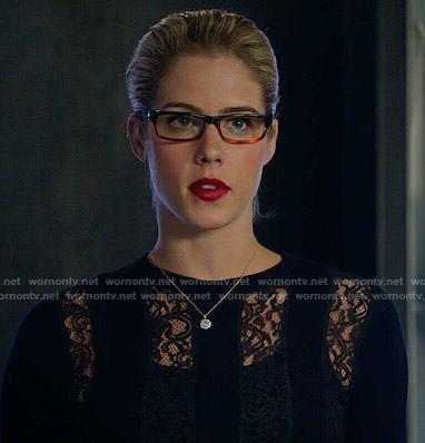 Felicity's purple dress with tiny bow belt on Arrow