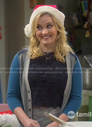 Gabi's navy blue lace crop top and colorblock cardigan on Young and Hungry