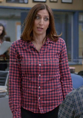 Gina's pink checked shirt on Brooklyn Nine-Nine