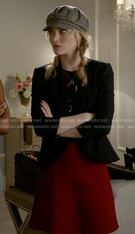 Grace's black top with red and white print on Scream Queens