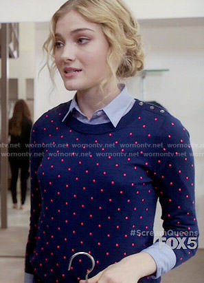 Grace's blue polka dot sweater on Scream Queens