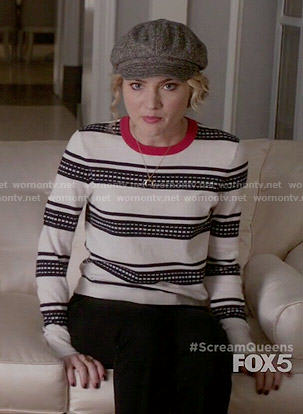 Grace's white and navy striped sweater with red trim on Scream Queens