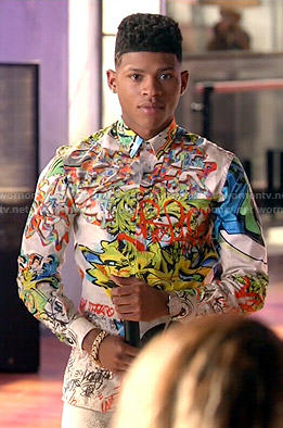Hakeem's graffiti print shirt on Empire