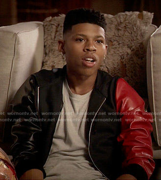 Hakeem's jacket with one red leather sleeve on Empire