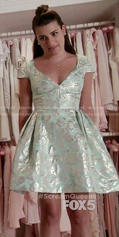 Hester's mint metallic v-neck dress on Scream Queens