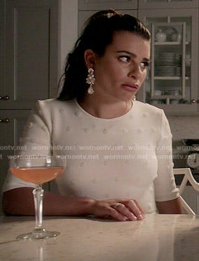 Hester's white polka dot crop top and skirt set on Scream Queens
