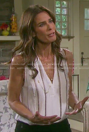 Hope's white sleeveless pintucked top on Days of our Lives