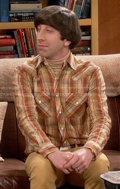 Howard's tan and orange plaid shirt on The Big Bang Theory