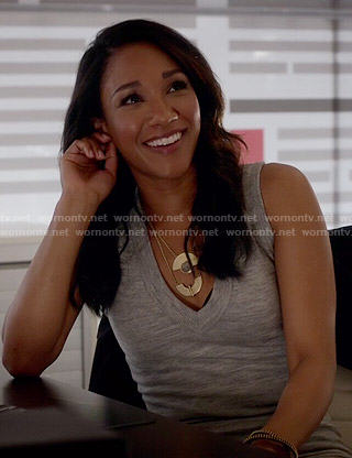 Iris's grey v-neck sweater dress on The Flash