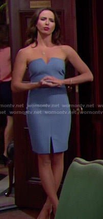 Ivy's blue strapless dress on The Bold and the Beautiful