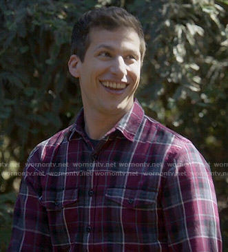 Jake's purple plaid shirt on Brooklyn Nine-Nine