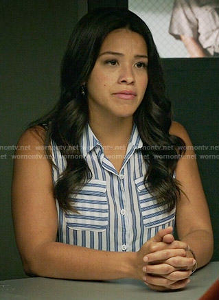 Jane's blue striped sleeveless shirt on Jane the Virgin