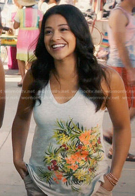 Jane's grey floral v-neck tank top on Jane the Virgin