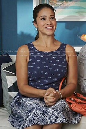 Jane's navy blue printed dress on Jane the Virgin