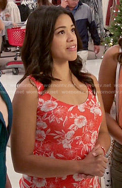 Jane's orange floral tank top on Jane the Virgin