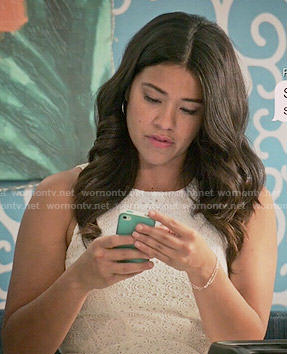 Jane's white eyelet dress on Jane the Virgin
