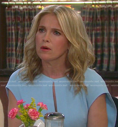 Jennifer's light blue keyhole dress on Days of our Lives