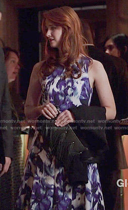 Jessica's blue floral fit and flare dress on Bones