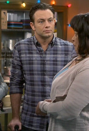 Josh's blue plaid shirt on Young and Hungry