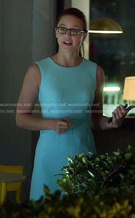 Kara's aqua blue sleeveless dress on Supergirl