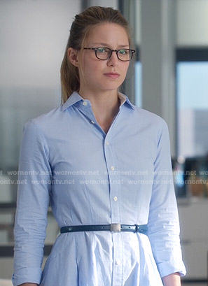 Kara's blue shirtdress on Supergirl