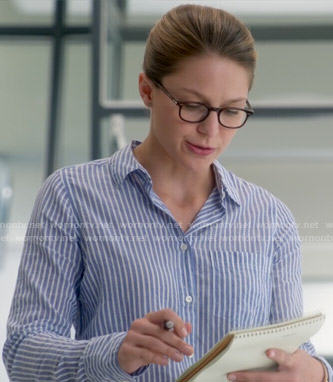 Kara's blue striped shirt on Supergirl
