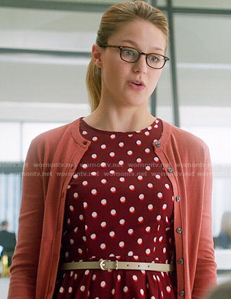 Kara's red polka dot dress on Supergirl