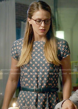 Kara's teal printed Thanksgiving dress on Supergirl