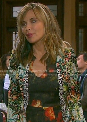 Kate's black and orange floral dress and printed jacket on Days of our Lives