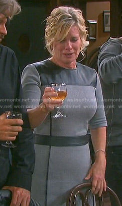 Kayla's grey dress with black leather panel on Days of our Lives