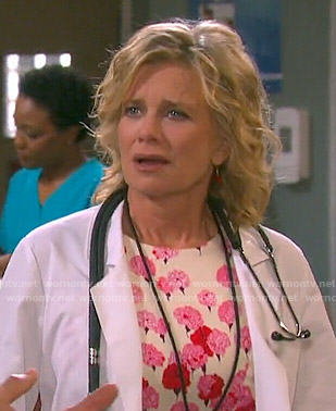 Kayla's pink and red floral dress on Days of our Lives