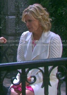 Kayla's white coat with knit sleeves on Days of our Lives