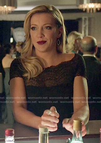 Laurel's black lace-yoke gown on Arrow