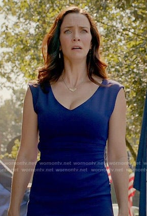 Lily's blue v-neck dress on The Vampire Diaries
