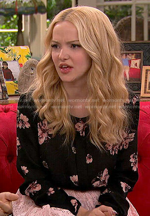 Liv's black and pink floral blouse and lace skirt on Liv and Maddie