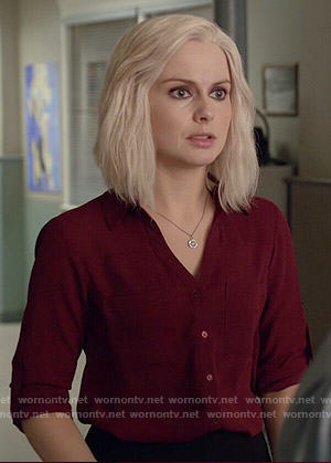 Liv's dark red button down top on iZombie